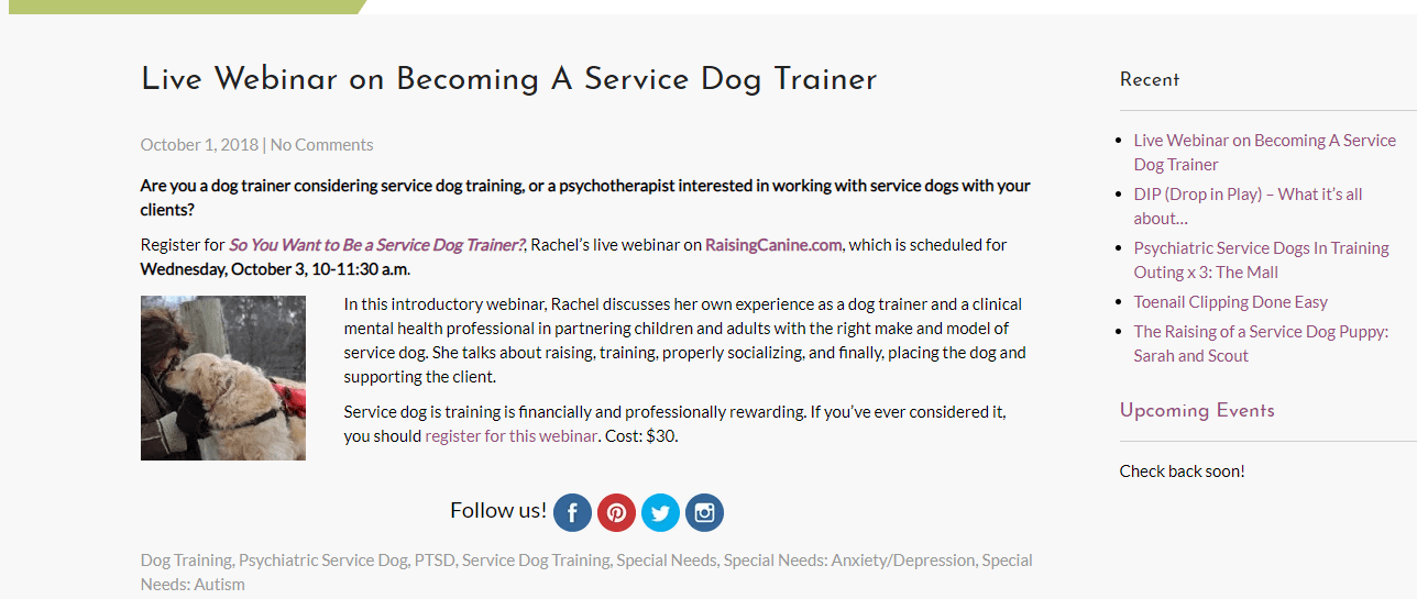 Webinar Becoming A Service Dog Trainer For Dog Trainers Therapists